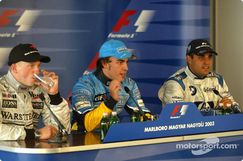 Conferencia de prensa: ganador de la carrera de Fernando Alonso con Kimi Raikkonen y Juan Pablo Montoya