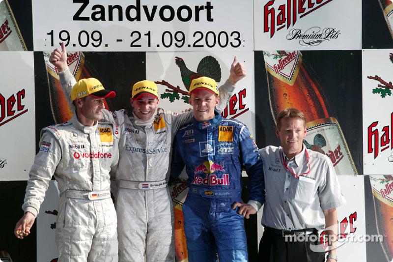 Podium: race winner Christijan Albers with Bernd Schneider and Mattias Ekström