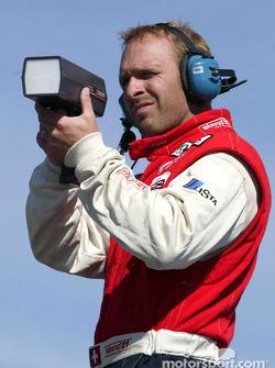 Bill Auberlen has fun with the radar gun