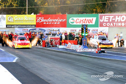 Funny car final between Cruz Pedregon and Tim Wilkerson