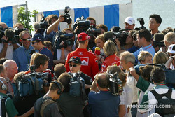 Post press conference scrum: Heinz-Harald Frentzen, Kimi Raikkonen, Michael Schumacher and Jenson Button