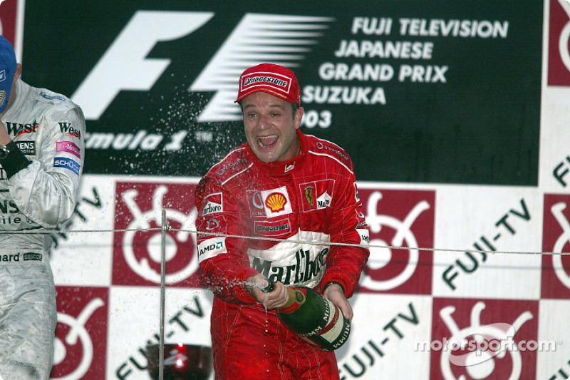 Podio: champagne para Rubens Barrichello