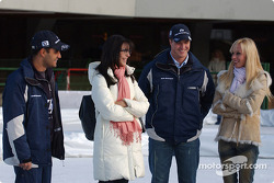 Juan Pablo Montoya with his wife Connie and Ralf Schumacher with his wife Cora