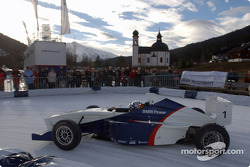 Juan Pablo Montoya drives a Formula BMW on the ice track