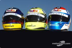 Juan Pablo Montoya, Ralf Schumacher and Marc Gene's helmets