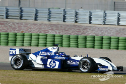 Juan Pablo Montoya tests the new WilliamsF1 BMW FW26