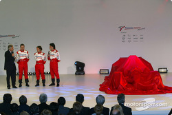 Cristiano da Matta, Olivier Panis and Ricardo Zonta before the unveiling of the Toyota TF104
