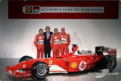 Luca Badoer, Luca di Montezemelo, Rubens Barrichello and Michael Schumacher with the new Ferrari F2004