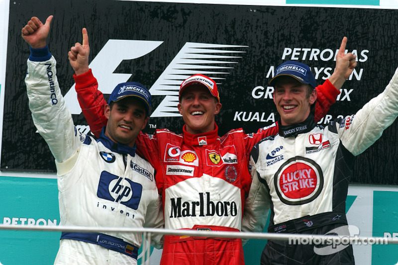2004 : 1. Michael Schumacher, 2. Juan Pablo Montoya, 3. Jenson Button