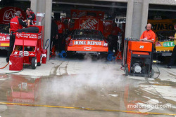 Smoke rises outside Tony Stewart's garage