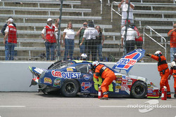 Rescue workers work to remove Kyle Busch