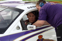 Kevin Harvick talks to one of the IROC crew chiefs