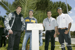Bernd Schneider, Heinz-Harald Frentzen, Jean Alesi and Emanuele Pirro pay tribute to Ayrton Senna at the inauguration of the 'Ayrton Senna Square' in Estoril