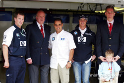 King Juan Carlos visits Juan Pablo Montoya and Ralf Schumacher