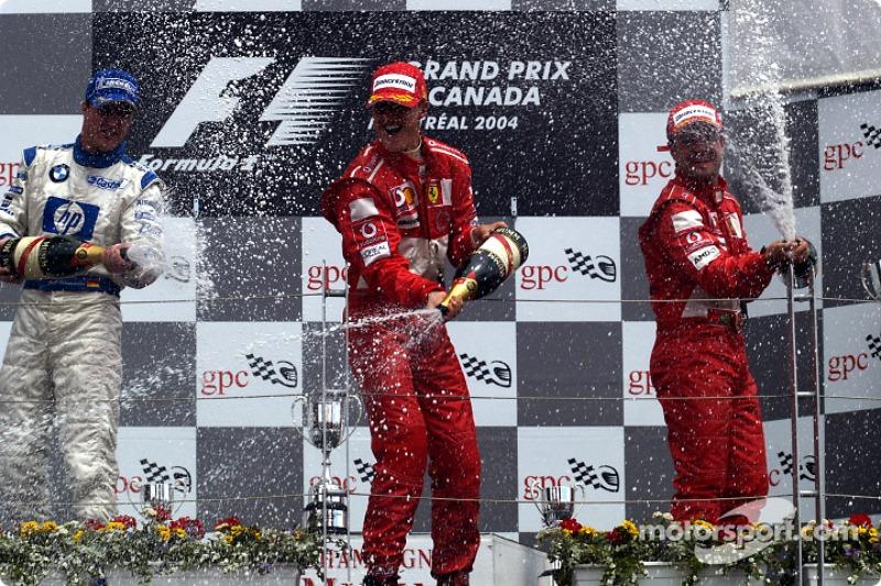 2004 - 1. Michael Schumacher, 2. Rubens Barrichello, 3. Jenson Button