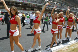 The Hawaiian Tropic girls arrive on pre-grid