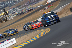 Pace laps: Jeff Gordon leads the field