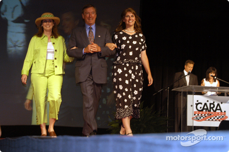 IRL Manager of Administration Kris Callfas, Johnny Rutherford and IRL Director of Administration Tiffany Hemmer