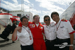 Jean Todt celebrates victory with Bridgestone team members