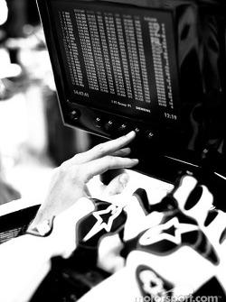 Jenson Button checks monitor