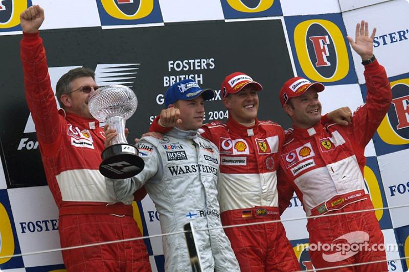 2004: 1. Michael Schumacher, 2. Kimi Räikkönen, 3. Rubens Barrichello