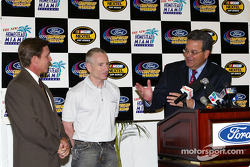 Vice President of Ford Motor Company Cisco Codina, Mark Martin and Homestead-Miami Speedway President Curtis Gray address the media at the Ford championship weekend kickoff luncheon