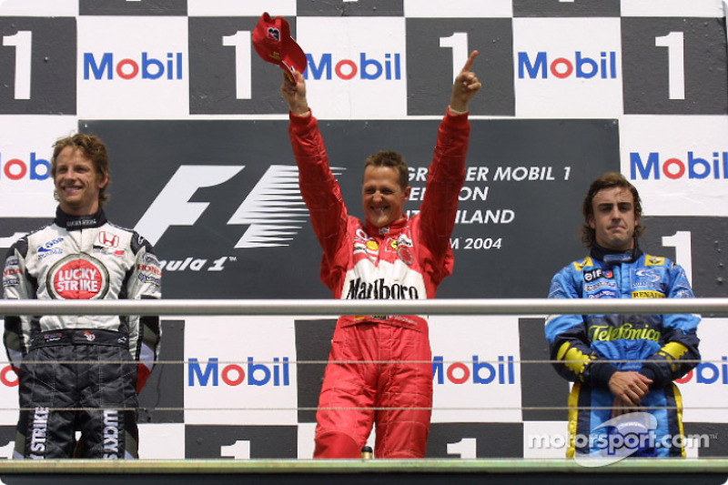2004: 1. Michael Schumacher, 2.  Jenson Button, 3. Fernando Alonso
