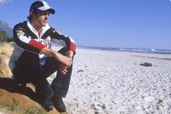 Jenson Button on the beach