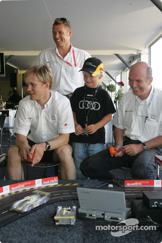 Mattias Ekström, Tom Kristensen und Audi-Sportchef Wolfgang Ullrich