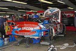 La voiture de Kyle Petty dans le garage