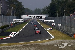 Formation lap: Rubens Barrichello leads the field