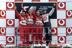 Podium: race winner Rubens Barrichello with Michael Schumacher, Jenson Button and Gabriele Delli Colli