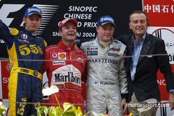 Podium: race winner Rubens Barrichello with Jenson Button, Kimi Raikkonen and Luca di Montezemelo
