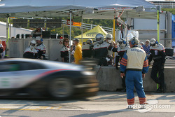 #6 Krohn-Barbour Racing Lamborghini Murcielago R-GT: Tracy Krohn, Scott Maxwell, Joe Fox leaves pit