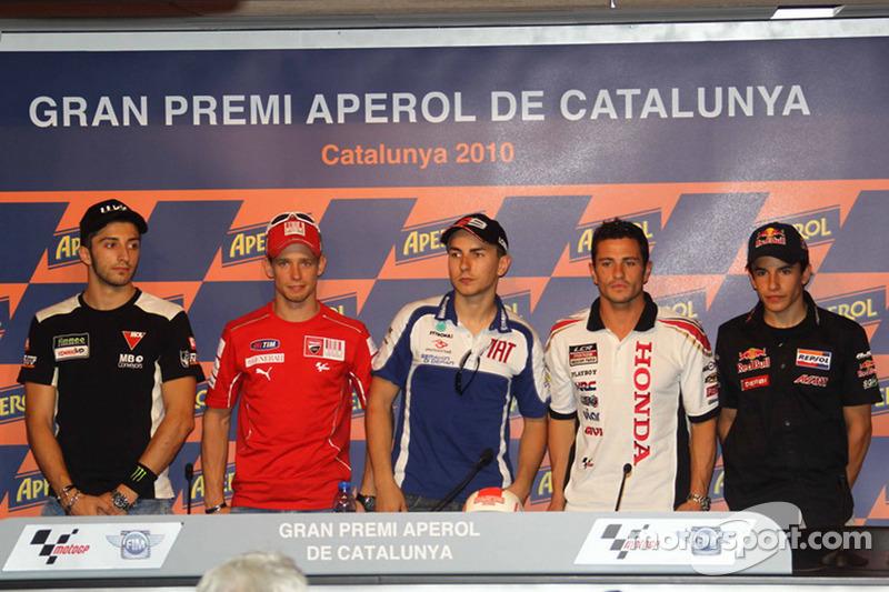 Persconferentie: polepositie Jorge Lorenzo, Fiat Yamaha Team, 2de Casey Stoner, Ducati Marlboro Team