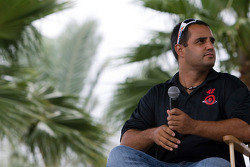 Juan Pablo Montoya during a Q&A session