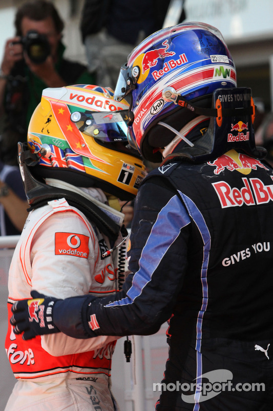 Lewis Hamilton, McLaren Mercedes en Mark Webber, Red Bull Racing