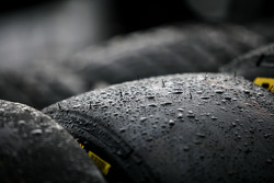 Water droplets on slick Pirelli tyres