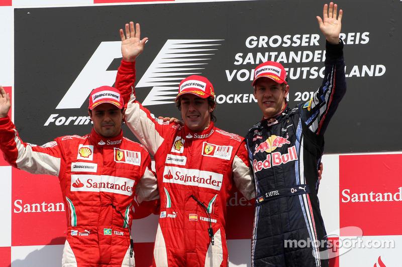 Подіум: переможець Фернандо Алонсо (Ferrari), другий призер Феліпе Масса (Ferrari) та третій призер Себастьян Феттель (Red Bull Renault)