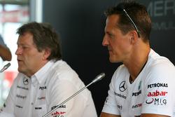 Norbert Haug, Mercedes, Motorsport chief and Michael Schumacher, Mercedes GP