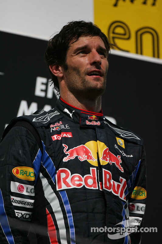 Podium: race winnaar Mark Webber, Red Bull Racing