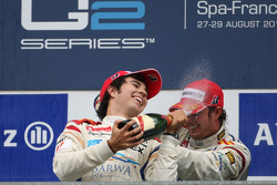 Podium: race winner Sergio Perez