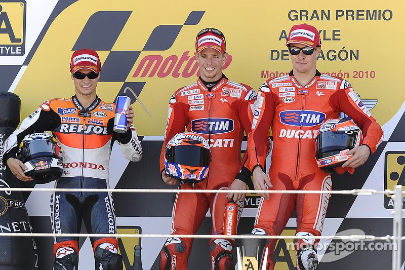 2010: 1. Casey Stoner, 2. Dani Pedrosa, 3. Nicky Hayden
