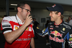 Race winner Sebastian Vettel, Red Bull Racing with Stefano Domenicali, Scuderia Ferrari Sporting Director