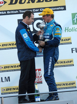 Jason Plato receives Champions Trophy from Series Director Alan Gow