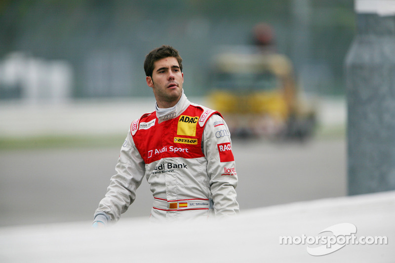 Crash bij de start: Miguel Molina, Audi Sport Rookie Team Abt Audi A4 DTM