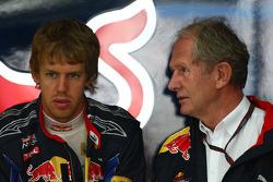 Sebastian Vettel, Red Bull Racing et Helmut Marko, conseiller de Red Bull Racing