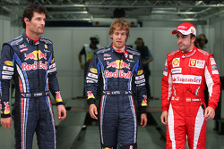 Pole winner Sebastian Vettel, Red Bull Racing, second place Mark Webber, Red Bull Racing, third place Fernando Alonso, Scuderia Ferrari
