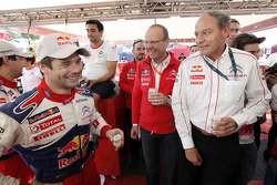 Winners Sébastien Loeb and Daniel Elena, Citroën C4, Citroën Total World Rally Team, celebrate with their team