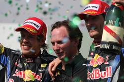 Podium: race winner Sebastian Vettel, Red Bull Racing, second place Mark Webber, Red Bull Racing, with Christian Horner, Red Bull Racing, Sporting Director